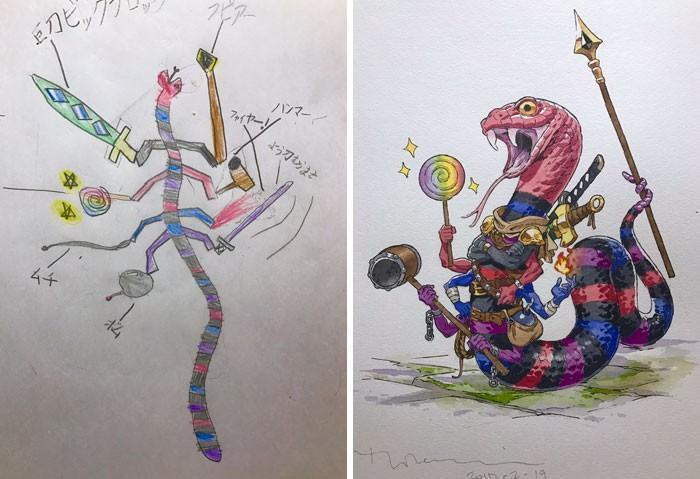 Pai desenhista transforma desenhos dos filhos em personagens de animes (4)