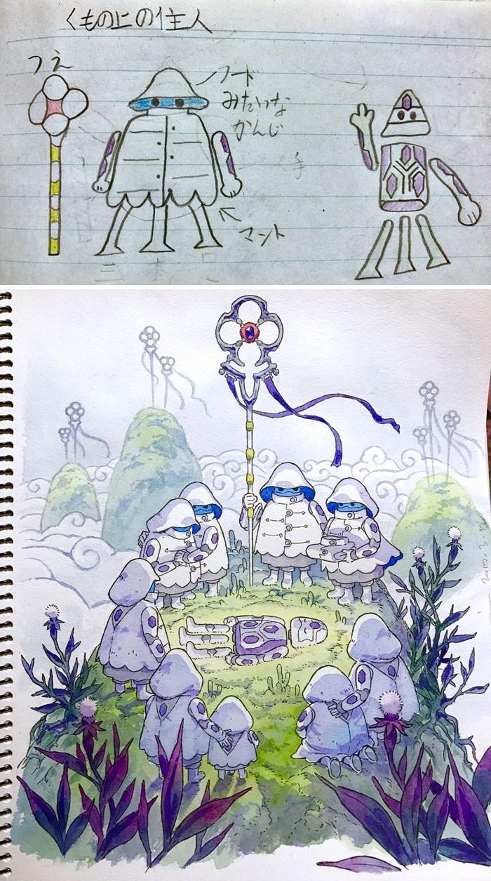 Pai desenhista transforma desenhos dos filhos em personagens de animes (3)