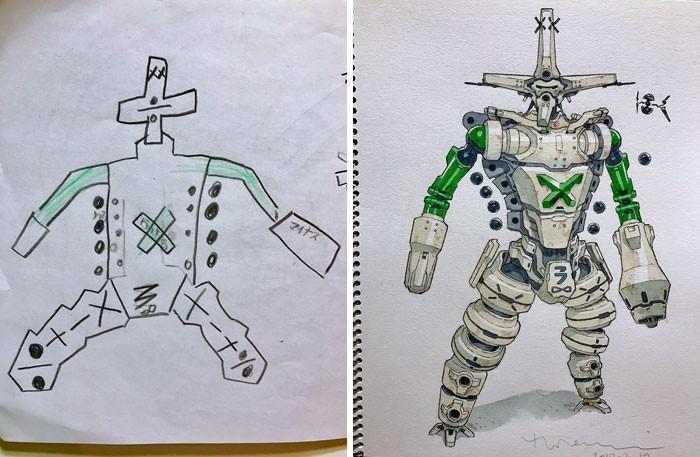 Pai desenhista transforma desenhos dos filhos em personagens de animes (2)