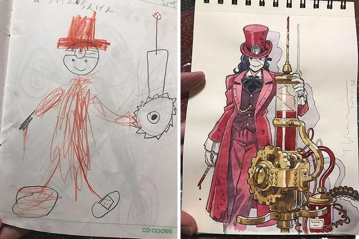 Pai desenhista transforma desenhos dos filhos em personagens de animes (1)