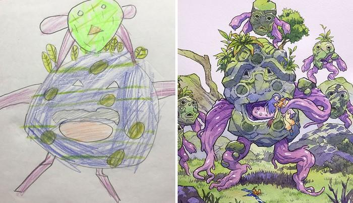 Pai desenhista transforma desenhos dos filhos em personagens de animes (24)