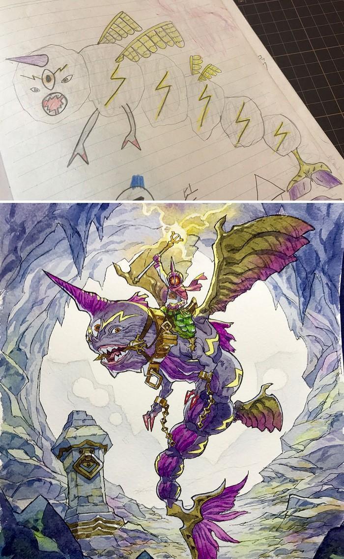 Pai desenhista transforma desenhos dos filhos em personagens de animes (23)