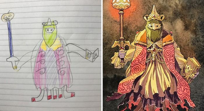 Pai desenhista transforma desenhos dos filhos em personagens de animes (22)