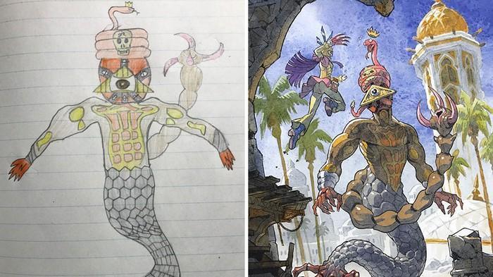 Pai desenhista transforma desenhos dos filhos em personagens de animes (21)
