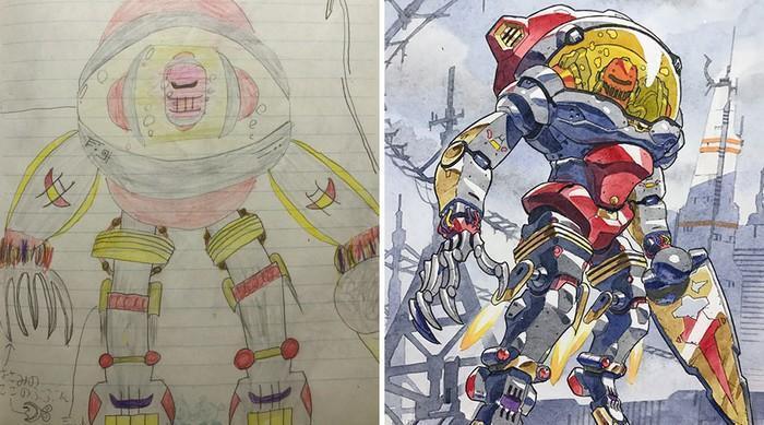 Pai desenhista transforma desenhos dos filhos em personagens de animes (20)