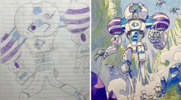 Pai desenhista transforma desenhos dos filhos em personagens de animes (19)