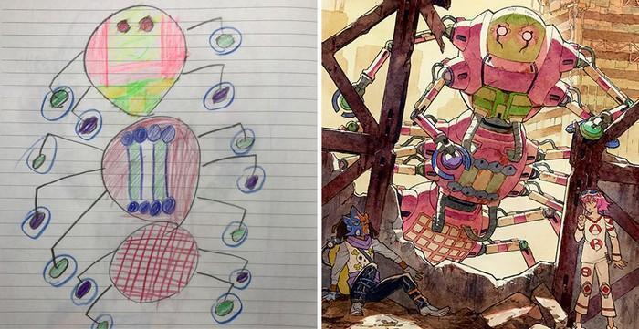 Pai desenhista transforma desenhos dos filhos em personagens de animes (18)