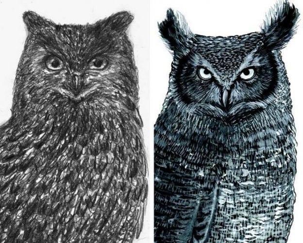 Artistas refazem seus desenhos para provar sua melhora com o tempo (20)